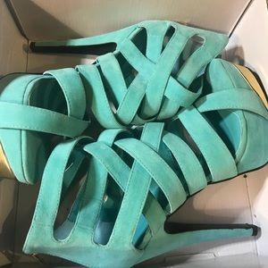 Shoes - Aqua Blue Zip up Platform Sandal